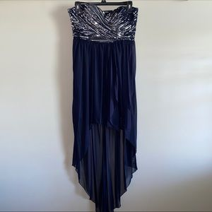 My Michelle Navy Blue High-Low Dress